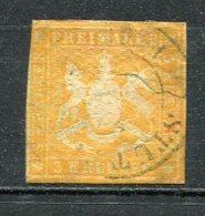 WURTEM - Yv. N° 12 MI. N° 12  Sans Fil De Soie  (o)  3k  Jaune-orange  Cote 10 Euro BE R  2 Scans - Wuerttemberg