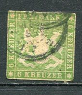 WURTEM - Yv. N° 13 MI. N° 13  Sans Fil De Soie  (o)  6k  Vert  Cote 140 Euro D 2 Scans - Wurttemberg