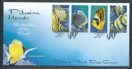 Pitcairn Islands 2001 Reef Butterfly Fish Set Of 4 On FDC Official Unaddressed - Stamps