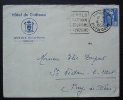 Murols (Puy De Dôme) 1952 Hôtel Du Château, Avec Daguin, Pour Saint Nectaire - Poststempel (Briefe)