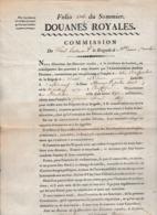 1815 - LORIENT - AURAY - DOUANES ROYALES - Commission De Sous-Lieutenant - Brigade Ste Anne Cavalerie - Documents Historiques