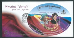 Pitcairn Islands 2000 Queen Mother 100th Birthday Miniature Sheet On FDC Official Unaddressed - Stamps