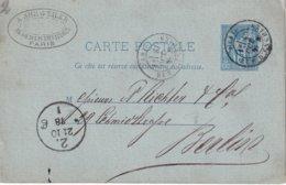 FRANCE 1878  ENTIER POSTAL/GANZSACHE/POSTAL STATIONERY CARTE DE PARIS - Postal Stamped Stationery