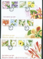 Pitcairn Islands 2000 Flower Definitives Set Of 12 To $10 On 3 FDC Official Unaddressed - Stamps
