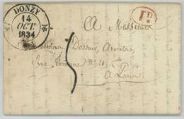 Type 12 DONZY / LàC 1834 Pour Paris écrite à Couloutre . Décime Rural Rouge . Coupe De Bois. Comte De Choiseul. - Marcophilie (Lettres)