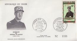 Enveloppe  FDC  1er  Jour   NIGER    GENERAL  DE   GAULLE    1971 - De Gaulle (Général)