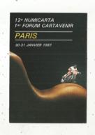Cp, Bourses & Salons De Collections, 12 E NUMICARTA ,1 Er CARTAVENIR ,Paris,1987 , Création P.Pastor ,tirage 4000 Ex. - Bourses & Salons De Collections