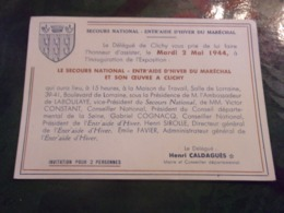 WWII RARE 1944 CLICHY LA GARENNE  INVITATION INAUGURATION EXPOSITION SECOURS NATIONAL ENTR AIDE HIVER DU MARECHAL PETAIN - 1939-45