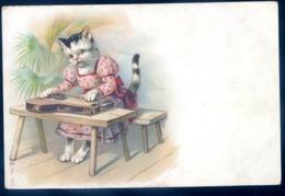 Cpa De Russie Russe Chat Humanisé Jouant De La Cithare Animaux Habillés   LZ123 - Animali Abbigliati