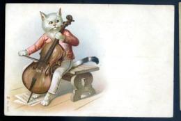 Cpa De Russie Russe Chat Humanisé Jouant Du Violoncelle Animaux Habillés   LZ123 - Animali Abbigliati