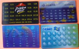 LOT DE 4 EURO CONVERTISSEUR PIZZA HUT GOUDA FORTIS GEMO - FRANC OU FRANC BELGE - SCANS RECTO VERSO - Otros