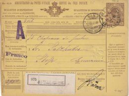 ITALIE 1897    ENTIER POSTAL/GANZSACHE/POSTAL STATIONERY  COLIS POSTAL DE ALESSANDRIA - 1878-00 Humbert I.