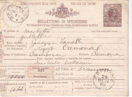 ITALIE 1889    ENTIER POSTAL/GANZSACHE/POSTAL STATIONERY  COLIS POSTAL DE ROCCABIANCA - 1878-00 Humbert I.