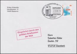2009C EXPO Hannover EF Brief Größter Briefkasten SSt Hannover Postbox 2.12.99 - Non Classés