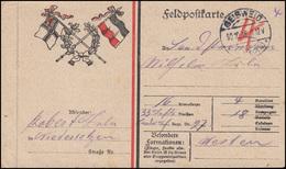 Feldpost Fahnen-Zudruck GEISWEID / Kr. SIEGEN 30.10.16 An Offene Miltäranschrift - Ocupación 1914 – 18