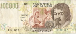 100000 LIRE CARAVAGGIO - [ 2] 1946-… : Repubblica