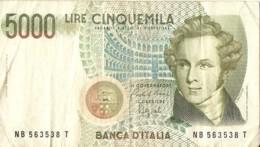 5000 LIRE  V. BELLINI + 1000 LIRE  MONTESSORI - 5000 Lire