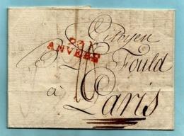 Brief Met Inhoud 2 Brumaire An 8 (24/10/1799), Griffe 93 / ANVERS (Herlant 20 : 32,5x10 Mm) Naar Paris - 1794-1814 (Période Française)