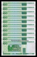 Bielorrusia Belarus Lot Bundle 10 Banknotes 100 Rublos 2000 Pick 26a With Security Thread SC UNC - Belarus