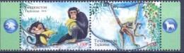 2016. Tajikistan, Lunar Calendar, The Year Of Monkey, 2v Perforated In Strip, Mint/** - Tadschikistan