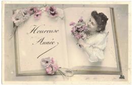 FANTAISIE FEMME FRAU LADY WROUV    HEUREUSE ANNEE LIVRE Circulé Vers NARBONNE - SEMEUSE ANNULEE BARREE - New Year