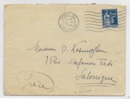 1932 - PAIX YT 288 SEUL Sur ENVELOPPE De PARIS => SALONIQUE (GRECE) DESTINATION ! - 1921-1960: Periodo Moderno