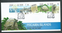 Pitcairn Islands 2000 Galapagos Tortoise Strip Of 4 With Label On  FDC Official Unaddressed - Stamps