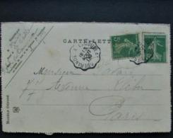 Cachet Convoyeur Guerande A Escoublac 1909 Semeuse Cp Le Pouliguen - Marcophilie (Lettres)