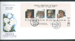 Pitcairn Islands 1998 Princess Diana Memorial Miniature Sheet On  FDC Official Unaddressed - Stamps