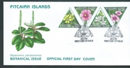 Pitcairn Islands 1998 Flower Triangle Stamps Set Of 4  On  FDC Official Unaddressed - Stamps