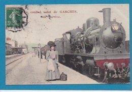 92 Hauts De Seine Garches Cordial Salut Gare Locomotive Cachet 1908 - Garches