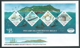 Pitcairn Islands 1999 Bounty Relics Miniature Sheet On FDC Official Unaddressed - Stamps