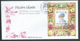 Pitcairn Islands 1995 Queen Mother 95th Birthday Miniature Sheet On FDC Official Unaddressed - Stamps