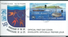 Pitcairn Islands 1997 Ship / SPC Anniversary Miniature Sheet On FDC Official Unaddressed - Stamps