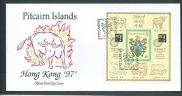 Pitcairn Islands 1997 Chinese New Year Of The Ox Miniature Sheet On FDC Official Unaddressed - Stamps