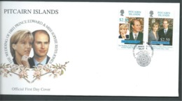 Pitcairn Islands 1999 Prince Edward Royal Wedding Set 2 On FDC Official Unaddressed - Stamps