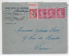 1937 - PAIX Avec PUB BYRRH + SEMEUSE Sur ENVELOPPE De CHALON SUR SAONE => PARIS - Marcofilia (sobres)
