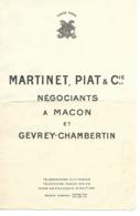 PUBLICITÉ , MARTINET , PIAT & Cie , Négociants à Macon Et Gevrey-Chambertin - Advertising