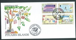Pitcairn Islands 1997 Christmas Set Of 4 On FDC Official Unaddressed - Stamps