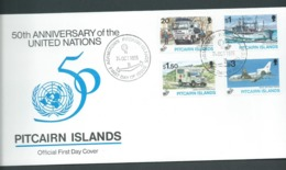 Pitcairn Islands 1995 United Nations Anniversary Set Of 4 On FDC Official Unaddressed - Stamps