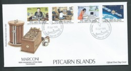 Pitcairn Islands 1995 Marconi Radio Anniversary Set Of 4 On FDC Official Unaddressed - Stamps