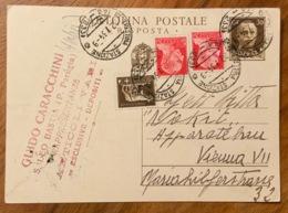 TRESTINA STAZIONE (46-253) 2/7/34 Su INTERO POSTALE PER L'ESTERO (VIENNA)  30 C. RISPOSTA  + IMPERIALE  5+20+20c. - Storia Postale