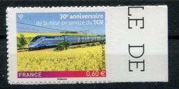 RC 13768 FRANCE N° 603 30 ANS DU TGV TRAIN AUTOADHÉSIF COTE 3€ TB NEUF ** - France