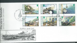 Pitcairn Islands 1996 Supply Ship Day Set Of 6 On FDC Official Unaddressed - Stamps