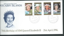 Pitcairn Islands 1996 QEII 70th Birthday Set Of 4  On FDC Official Unaddressed - Stamps