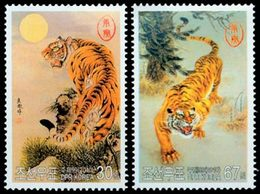 COREE DU NORD Tigres, Le Soleil 2v 10 Neuf ** MNH - Korea, North