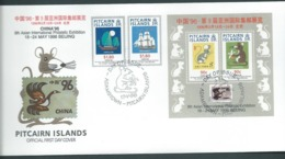 Pitcairn Islands 1996 Beijing Exhibition Set Of 2 & Miniature Sheet On FDC Official Unaddressed - Stamps
