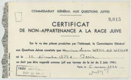 Certificat De Non Appartenance à La Race Juive De L'artiste Lucien Weill, Dit Weiluc . Judaïca . Vichy . 1944 . - Documents