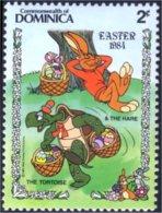 "308 Dominica Disney Lievre Tortue Hare Hase Turtle Schildkrote MNH ** Neuf SC (DMN-29)"" - Rabbits"
