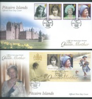 Pitcairn Islands 2002 Queen Mother Memorial Set Of 4 & Miniature Sheet On Two FDC Official Unaddressed - Stamps